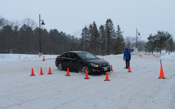 <p>The next day, we drove on a test course in an unplowed parking lot, to find out just how much grip the all-wheel-drive system could provide under hard acceleration and braking in deeper snow.</p>
