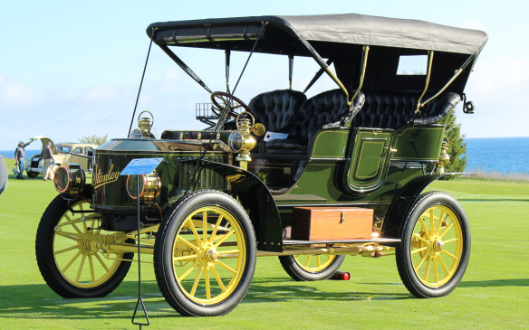 <p>One of the most unique vehicles on the field was this 1905 Stanley Steamer Model FF Touring, which moved right along when it built up a head of steam.</p>