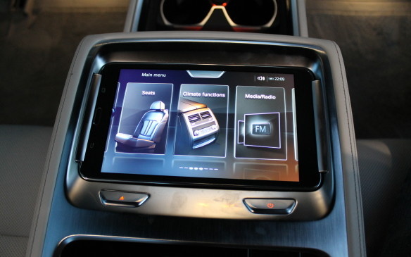 <p><strong></strong>Everything inside the car is controllable from the rear seat, either through the display screen or by a separate tablet in the centre console.</p>