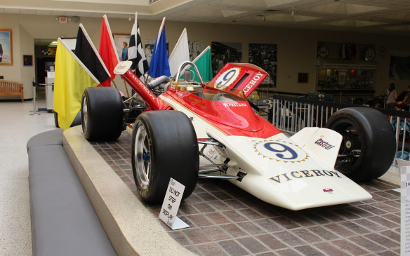 <p>While the museum typically has 30 or more Indy-winning cars on display, many of the most interesting are non-winners, like this 1972 Parnelli/Offy which was featured in a 2014 display. Designed by F1 designer Maurice Philippe for the Vel's Parneli Jones 'Superteam', with unique dihedral wings, it never raced in this configuration. Pretty as it was, pre-race testing showed that a conventional rear wing was more effective so the V-shaped wings disappeared.</p>
