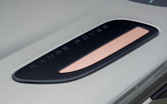 <p>Slender pieces of burnished copper were added to create unique contrast for this hood plate but also to the front bumper blades and fender vents, on both sides of the Velar's surprisingly smooth body. Attention to the shape, finish and appearance of the minutest details is obvious on every component or surface of Range Rover's fourth luxury SUV, inside and out.</p>