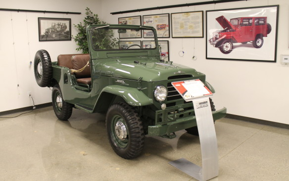 <p>Another iconic car for the brand is also in the lobby – this Land Cruiser was one of the first models sold by Toyota Motor Sales, USA Inc.</p>