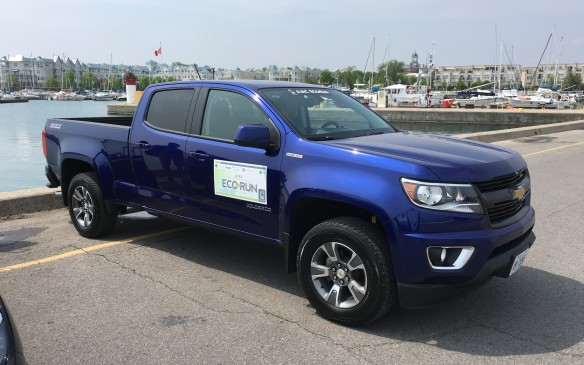 <p>The 2016 Chevrolet Colorado's powertrain lineup includes a new 2.8-litre Duramax turbo-diesel engine, which General Motors says is the cleanest diesel truck engine it has ever produced. The all-wheel-drive truck participating in EcoRun was fitted with a six-speed automatic transmission. Its price as tested was $46,490. Its NRCan fuel consumption rating is 12.0L/100 km in city use, 8.2 on the highway and10.3 combined. Actual fuel consumption during EcoRun was 7.1 L/100. During my stint in the Colorado, I averaged 7.7 litres/100 km while coping with Toronto's morning rush-hour traffic.</p>