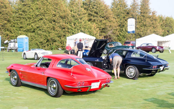 <p>The Corvette contingent included a pair of split-window '63 Sting Rays.</p>