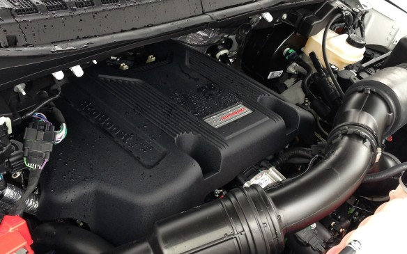 <p>Under the hood of the new Raptor is a second-generation, twin-turbocharged, 3.5-litre EcoBoost V-6. This new engine belts out 450 horsepower and 510 lb-ft of torque, substantial gains over the 411 hp and 434 lb-ft of the first Raptor's 6.2-liter V-8, with the promise of a 23% gain in fuel economy thanks to combined direct-and-port injection, auto stop-start and other such wizardry. The full-throttle growl is not the same but the grunt is definitely there, ably channeled to the wheels by an all-new, smooth and quick-shifting 10-speed transmission.</p>