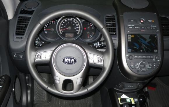 2013 Kia Soul - steering wheel and instrument panel dark