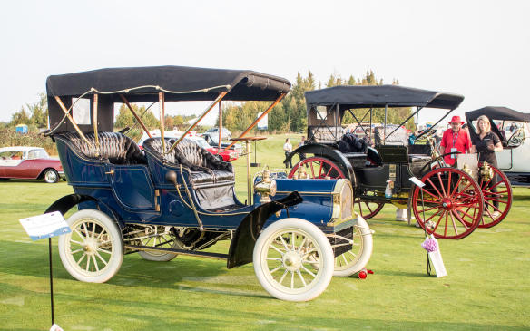 <p>The Antiques classes were rich in content, including the1905 Buick Model C in the foreground and the high-wheeled 1907 International Harvester Auto Buggy behind it.</p>