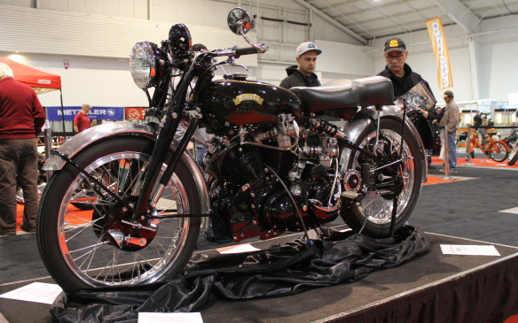 <p>Many bikes at the show were not what they seemed, like this 1953 Vincent Black Shadow, owned by organizer Bar Hodgson. It's been modified with many high-performance parts.</p>