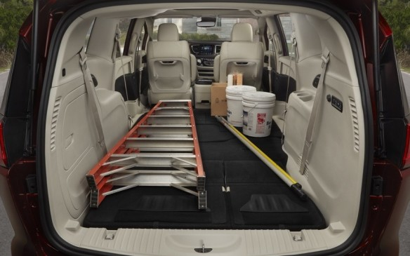 <p>There are 5,587 litres (197.3 cubic feet) of interior space in total. Plus, there are big, deep bins beneath the second row floor and in the rear where the redesigned and simplified Stow-N-Go seats go when not in use. With all seats folded down the Pacifica will carry 64 quarter-inch 4 X 8 sheets (590 kilos) of plywood!</p>
