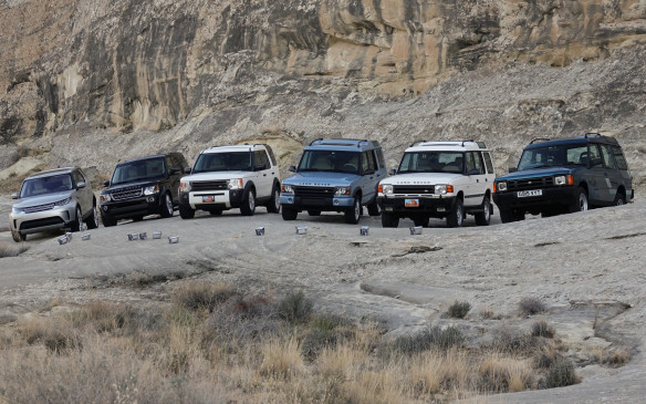 <p>The new Discovery (far left) leads off the fifth generation of Land Rover's most popular model, with more than 1.2 million units sold since the original (far right) was launched in Europe, 27 years ago. The Discovery first came to Canada in revamped and facelifted form as a 1994 model (second from the right) followed in 1998 by the redesigned Series II (shown here in blue). The third generation followed in 2004, sold as the LR3, and the fourth in 2010, graced with the moniker LR4.</p>