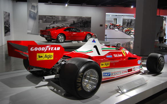 <p>The T2 was the first 312 T to incorporate side-mounted air intakes, in response to a rule change prohibiting the high intakes that had become the norm. Canadian fans will recognize it as the first Ferrari model that Gilles Villeneuve drove when he joined the Scuderia in 1977.</p>