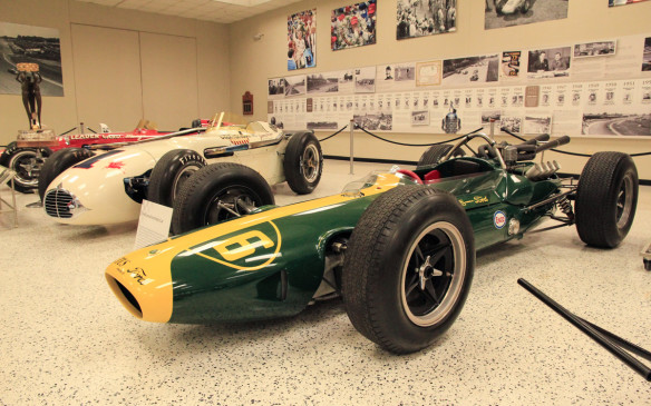 <p>Among the most significant cars in the museum is this 1964 Lotus Ford, driven by then F1 World Champion Jimmy Clark. The contrast between it and the traditional Indy roadster in the background illustrates just how dramatic the mid-engine revolution of the early 1960s really was.</p>