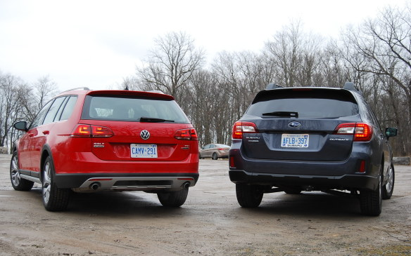 <p>It's worth noting that the Volkswagen Golf Alltrack was recently voted the 2017 Canadian Car of the Year by the Automobile Journalists Association of Canada (AJAC). But don't interpret that accomplishment as an automatic decision over the Outback as it wasn't eligible for that award as it wasn't 'all-new' this year.</p> <p>Here are the details of the two vehicles we tested:</p> <table> <tbody> <tr> <td> <p><strong>Model Year / Make</strong></p> </td> <td> <p>2017 Subaru</p> </td> <td> <p>2017 Volkswagen</p> </td> </tr> <tr> <td> <p><strong>Model</strong></p> </td> <td> <p>Outback</p> </td> <td> <p>Golf Alltrack</p> </td> </tr> <tr> <td> <p><strong>Options</strong></p> </td> <td> <p>None</p> </td> <td> <p>Driver Assistance Package</p> <p>Light and Sound Package</p> </td> </tr> <tr> <td> <p><strong>Base Price </strong>(MSRP)</p> </td> <td> <p>$31,295</p> </td> <td> <p>$35,295</p> </td> </tr> <tr> <td> <p><strong>Price As Tested</strong> (incl frt)</p> </td> <td> <p>$32,970</p> </td> <td> <p>$39,840</p> </td> </tr> <tr> <td> <p><strong>Engine</strong></p> </td> <td> <p>2.5-litre 4-cylinder</p> </td> <td> <p>1.8-litre four-cylinder turbo</p> </td> </tr> <tr> <td> <p><strong>Power</strong></p> </td> <td> <p>175 hp @ 5,800 rpm</p> </td> <td> <p>170 hp @ 4,500 rpm</p> </td> </tr> <tr> <td> <p><strong>Torque</strong></p> </td> <td> <p>175 lb-ft @ 4,000 rpm</p> </td> <td> <p>199 lb-ft @ 1,600 rpm</p> </td> </tr> <tr> <td> <p><strong>Transmission</strong></p> </td> <td> <p>6-speed manual</p> </td> <td> <p>6-speed DSG automatic</p> </td> </tr> <tr> <td> <p><strong>Drivetrain</strong></p> </td> <td> <p>Subaru Symmetrical</p> <p>Full-time All-Wheel-Drive</p> </td> <td> <p>4Motion</p> <p>Full-time All-Wheel-Drive</p> </td> </tr> <tr> <td> <p><strong>Fuel Consumption </strong></p> <p>(NRC City/Highway)</p> </td> <td> <p>11.0/8.3 L/100 km</p> </td> <td> <p>10.6/8.0 L/100 km</p> </td> </tr> <tr> <td> <p><strong>Length</strong></p> </td> <td> <p>4817 mm</p> </td> <td> <p>4577 mm</p> </td> </tr> <tr> <td> <p><strong>Wheelbase</strong></p> </td> <td> <p>2745 mm</p> </td> <td> <p>2629 mm</p> </td> </tr> <tr> <td> <p><strong>Mass</strong></p> </td> <td> <p>1615 kg</p> </td> <td> <p>1497 kg (est)</p> </td> </tr> </tbody> </table> <p> </p>