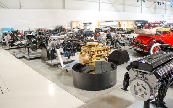 <p>In addition to cars, there is a vast display of significant GM engines from over the year, including the experimental Cadillac V-12 in the foreground.</p>