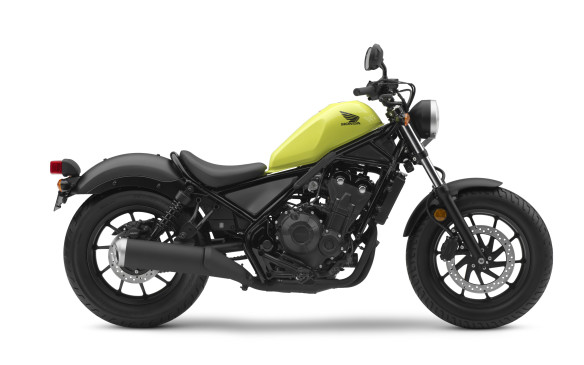 <p>The Rebel is an all-new machine intended to introduce people to motorcycling: easy to ride, easy on fuel, easy on the wallet. It will be sold as either a 300-cc single or a 500-cc twin like the one in this picture, for $4,799 or $6,699.</p>