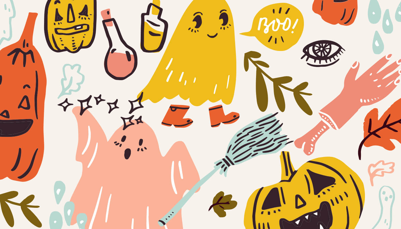 cute halloween illustration with ghosts and pumpkins