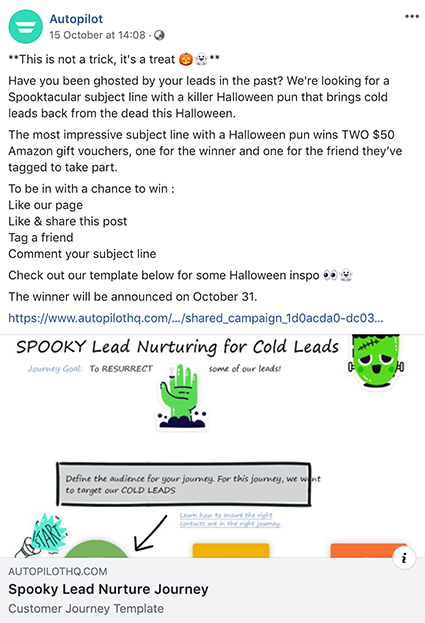 Autopilot Halloween subject line Facebook competition