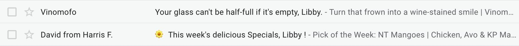 personalized email subject lines from Vinomofo and Harris Farm