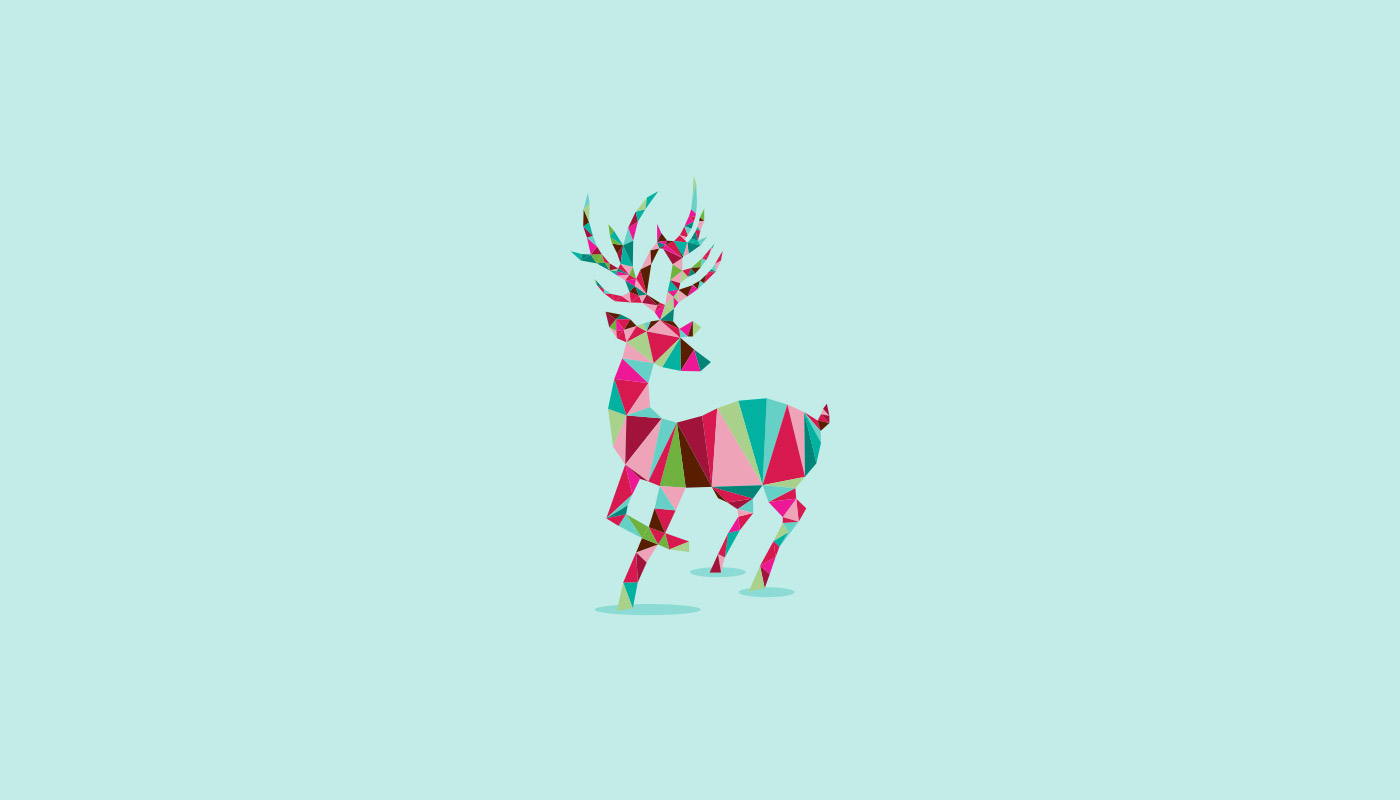 vector reindeer in christmas colors