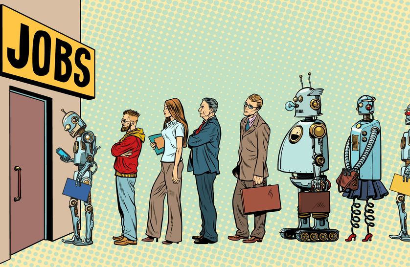 Cartoon of robots and humans lining up for job interview