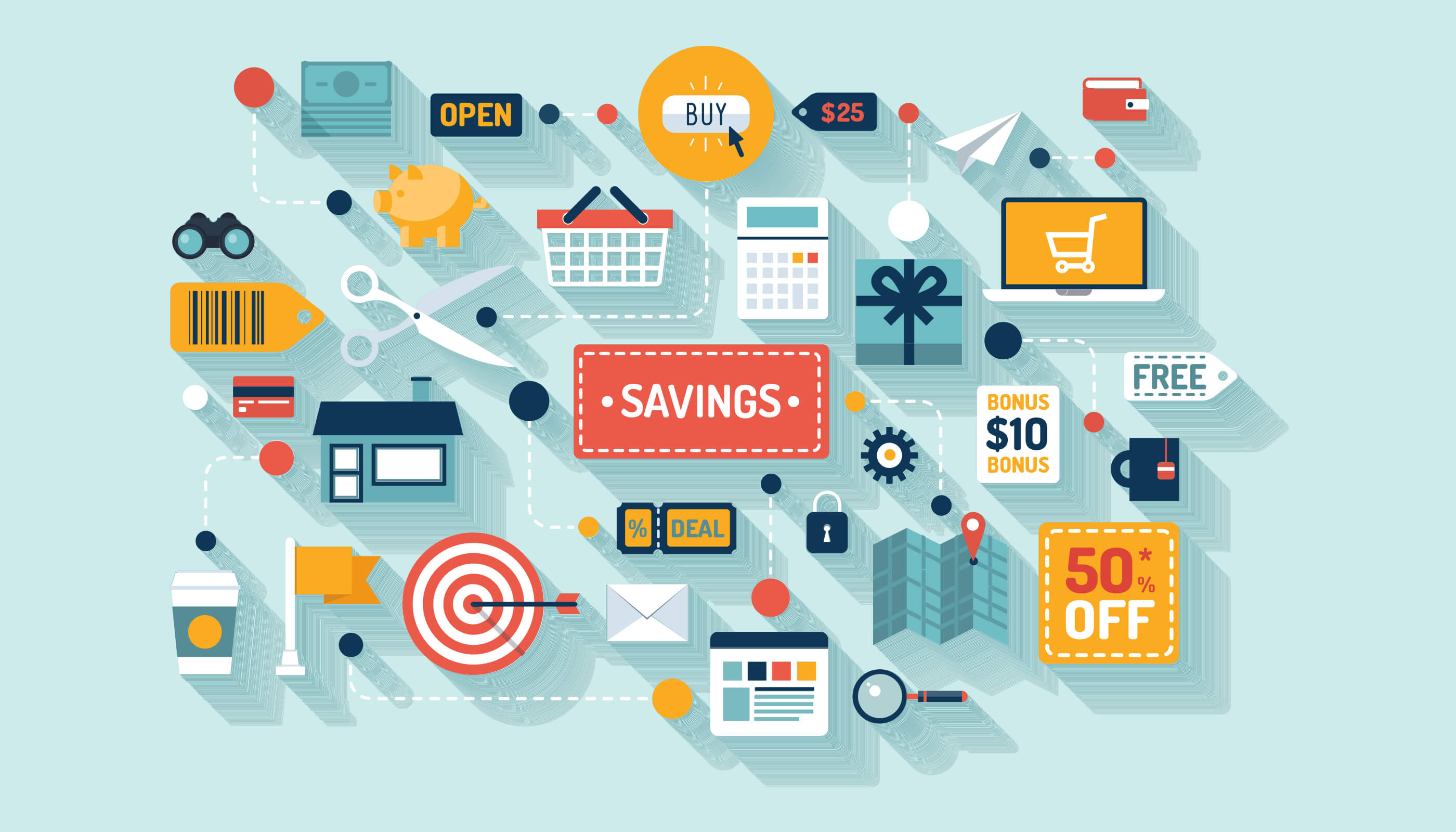 vector image of ecommerce elements including savings, trolleys, discounts, websites, calculators