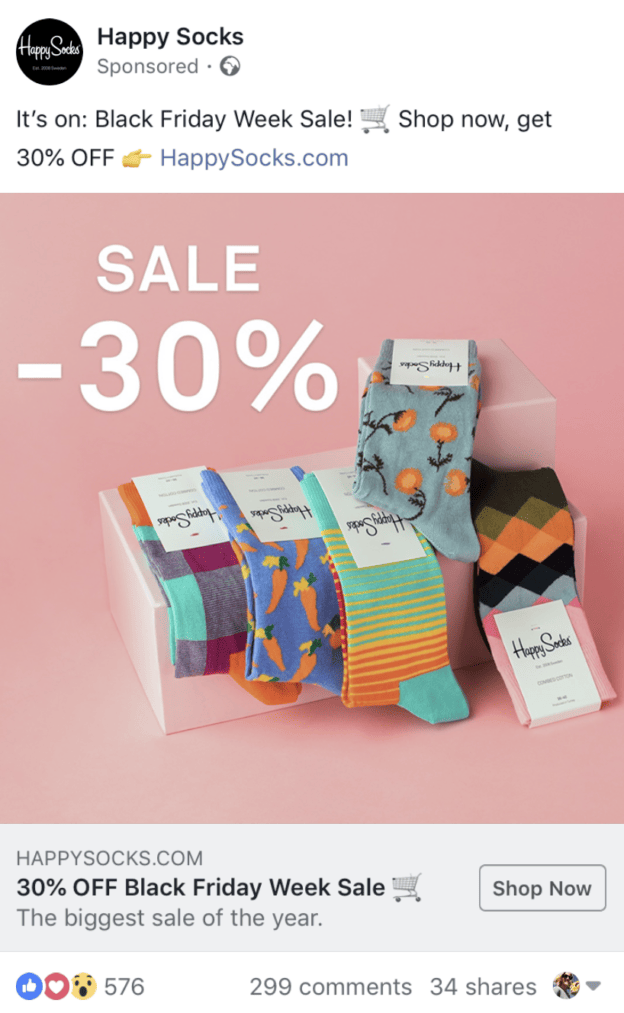 facebook ad for happy sock's black friday week sale
