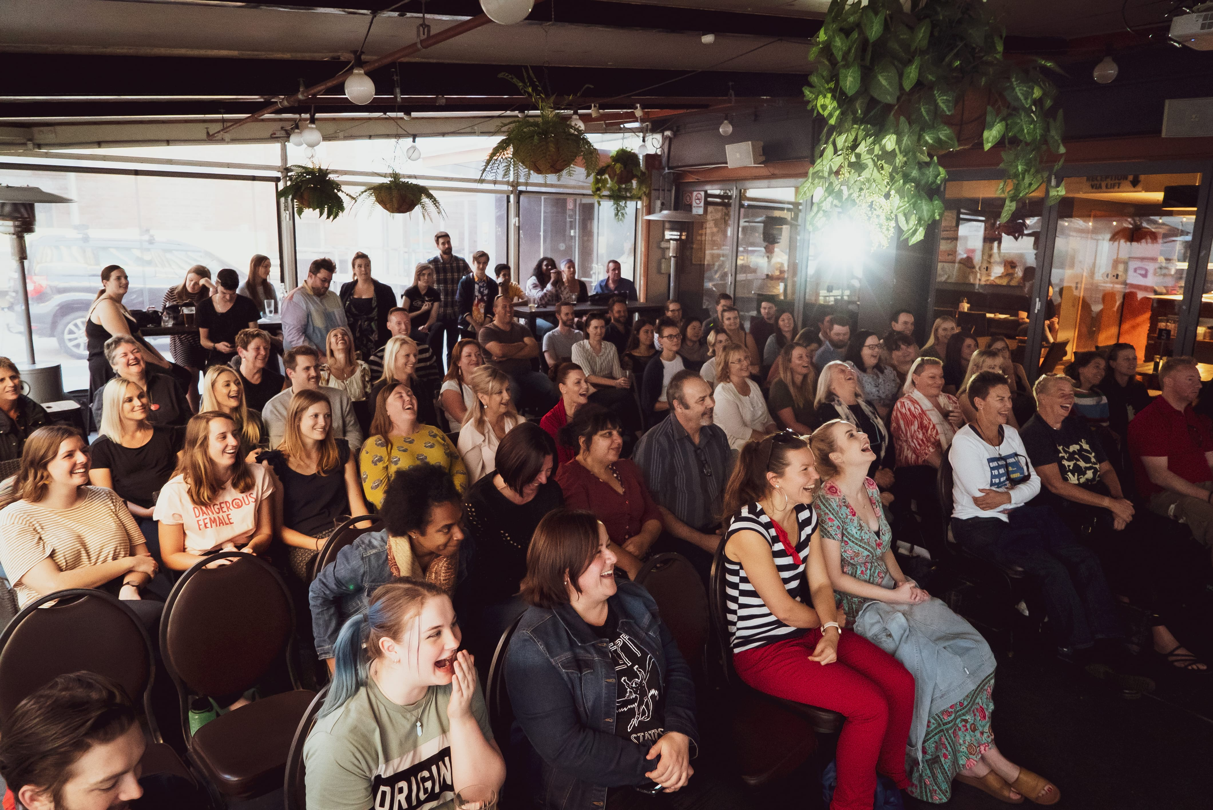 laughing crowd watching newcastle comedy festival