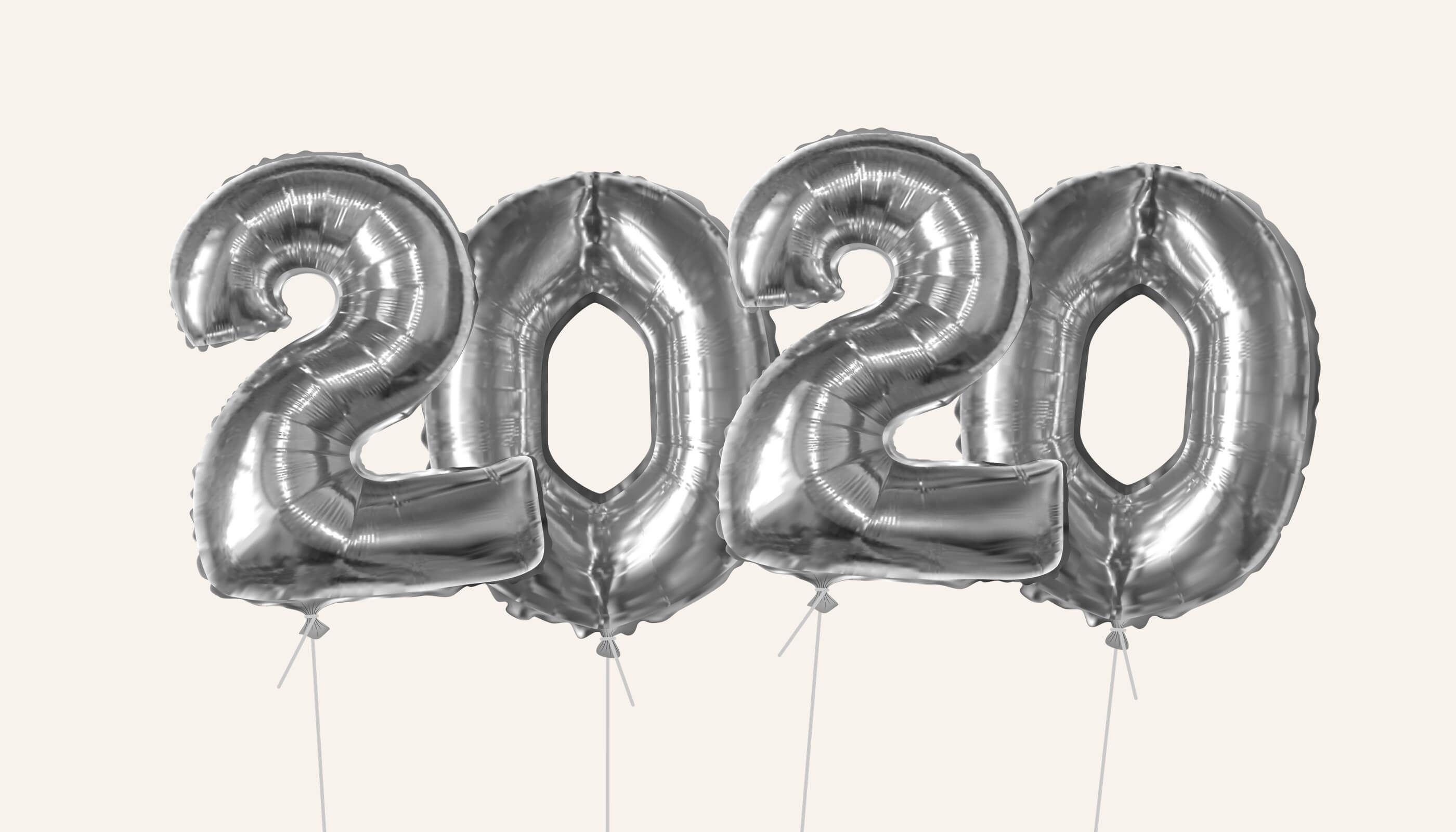 Silver balloons depicting 2020
