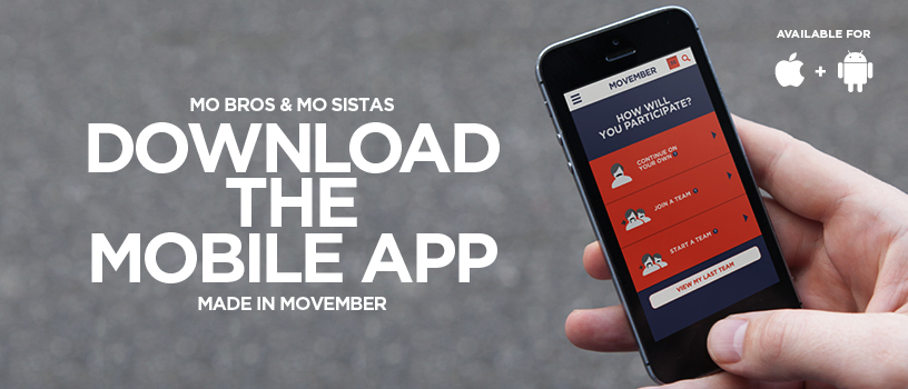 Hand holding iphone with Movember app displayed