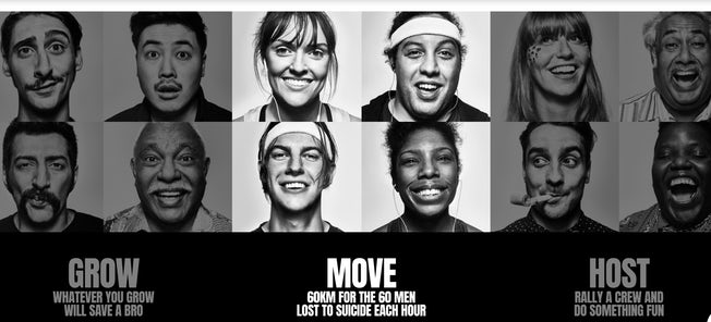 movember ad featuring black and white portraits of men and women