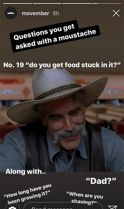 Movember Instagram story featuring man with mustache and cowboy hat