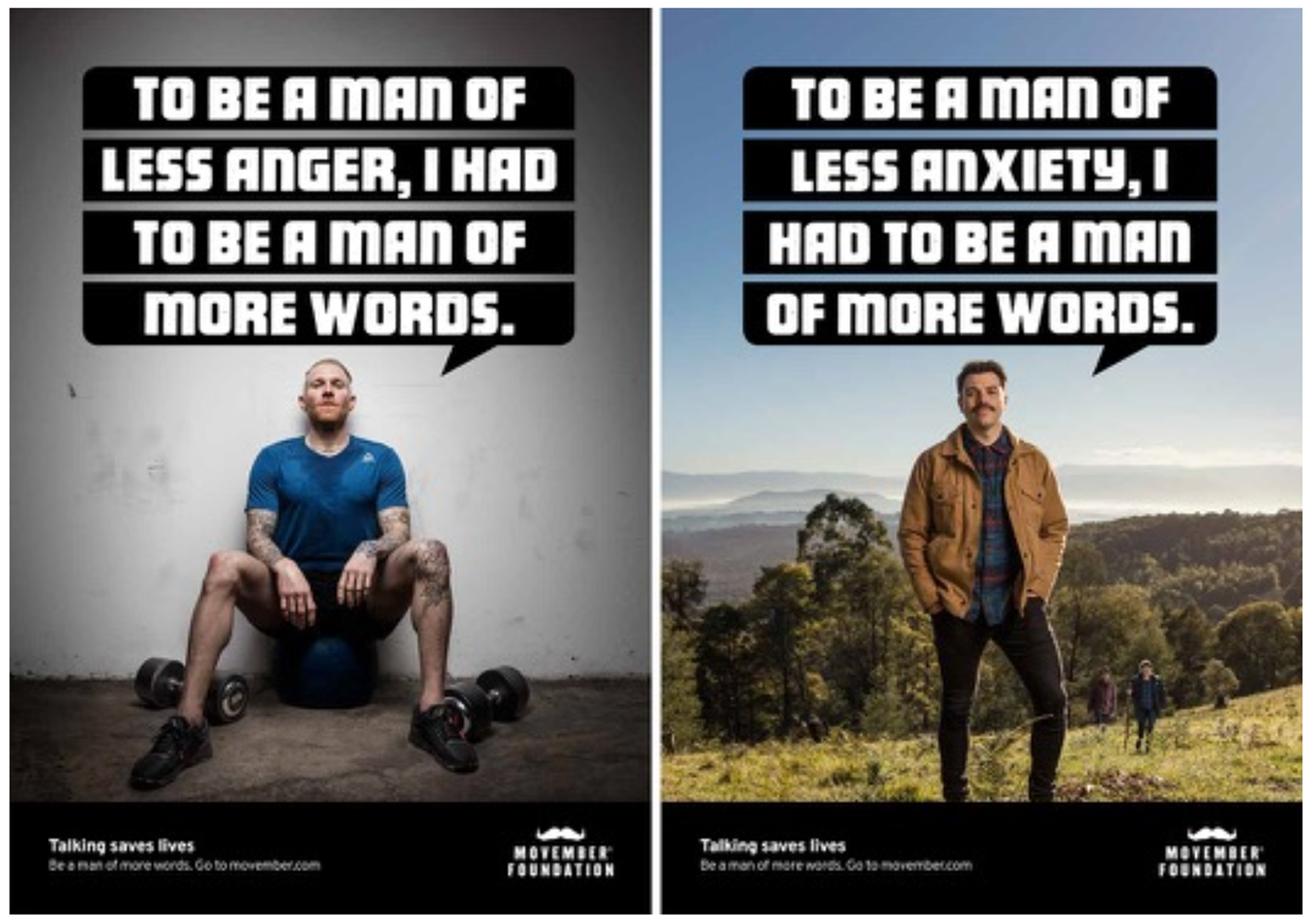 Movember print ad campaign featuring men in various locations