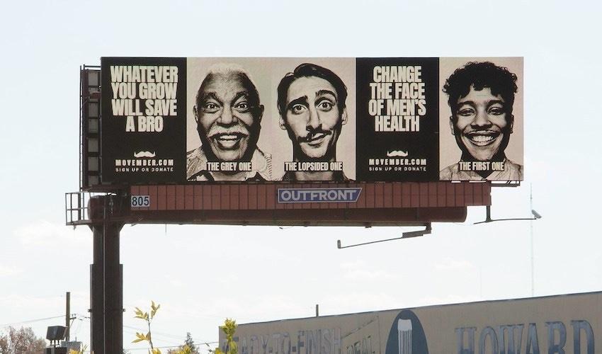 Movember billboard ad on highway