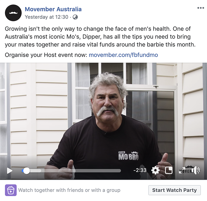 Movember Facebook Watch Party campaign with Dipper