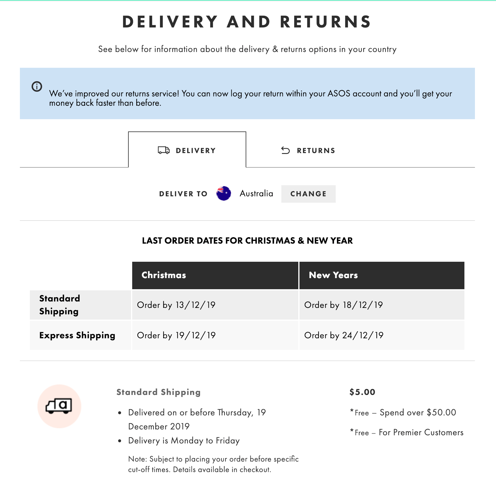 ASOS delivery and returns landing page