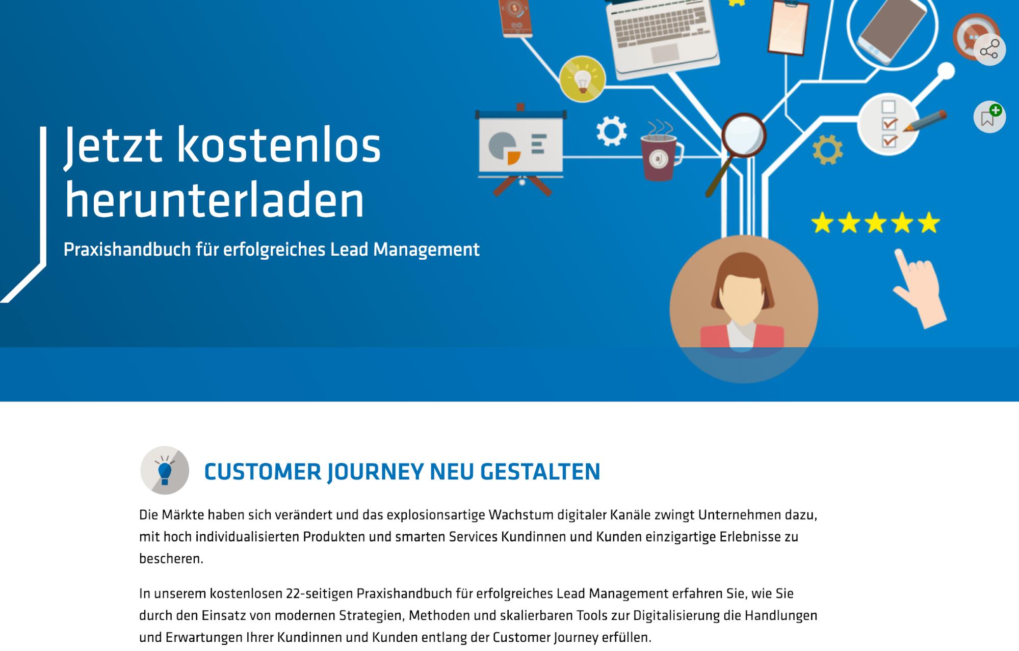 german customer journey landing page