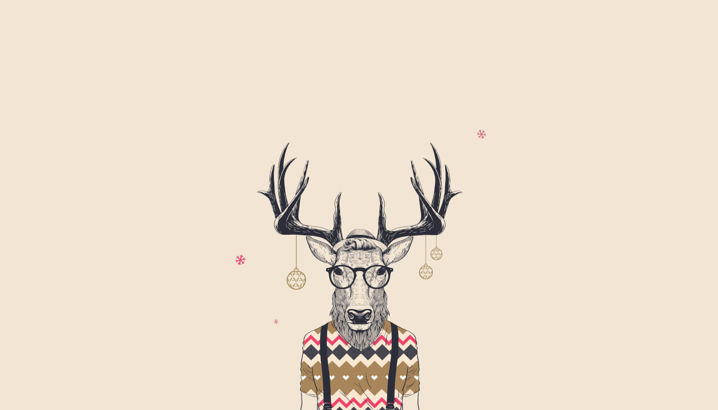 vector image of hipster reindeer with christmas decorations hanging from antlers