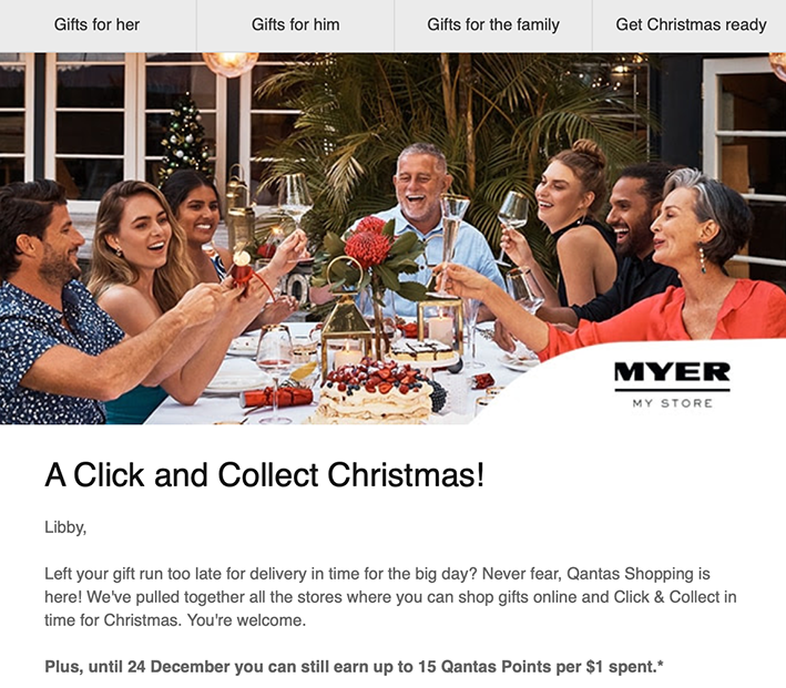 qantas myer click and collect email offer