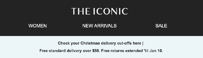 the iconic free delivery christmas email