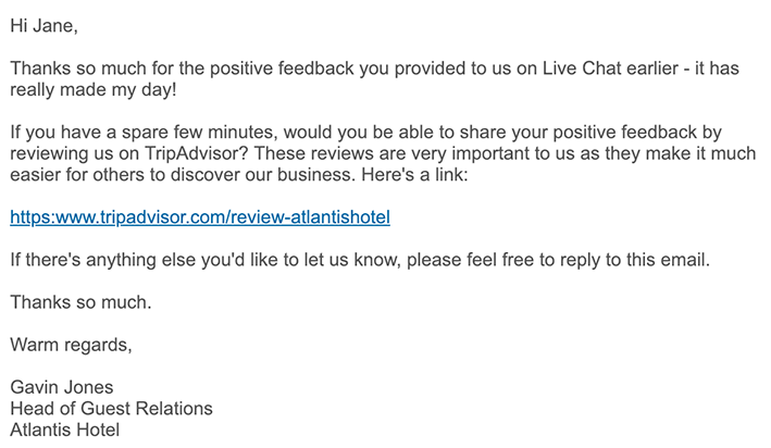 email example asking for customer feedback