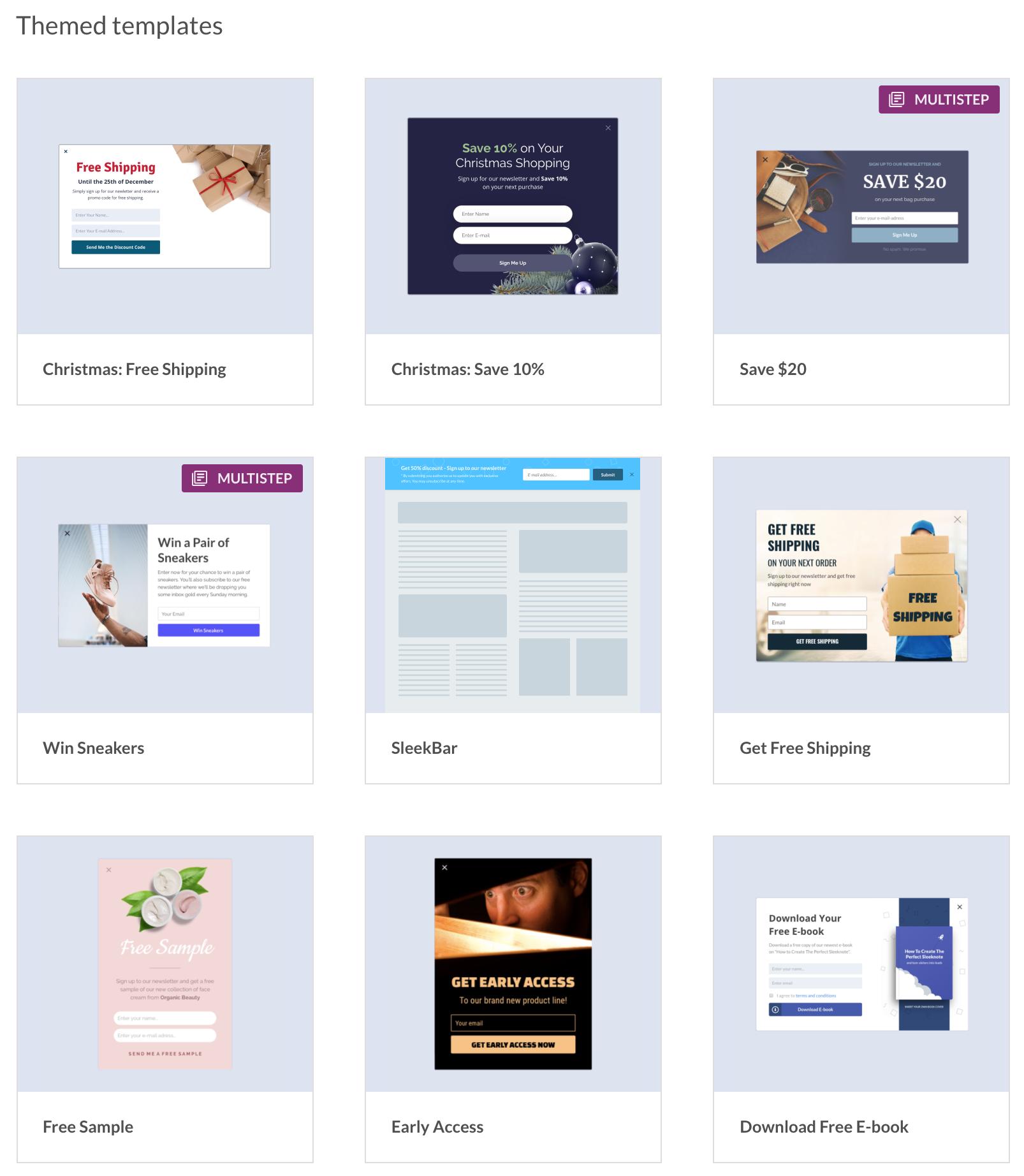 Sleeknote exit-intent pop-up builder templates