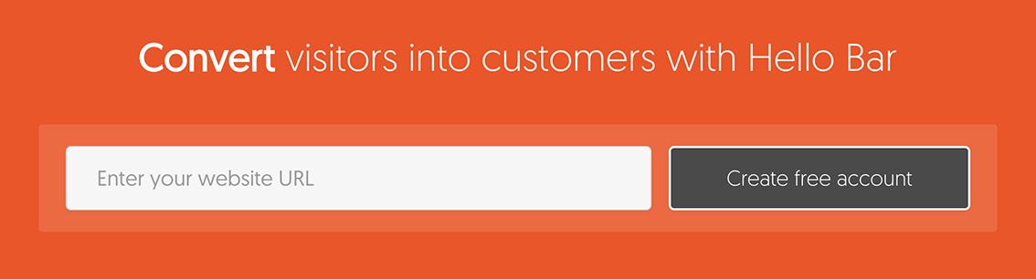 Hello Bar website URL free account generator