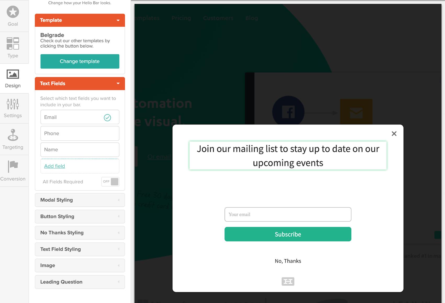 Hello Bar exit-intent pop-up builder UI