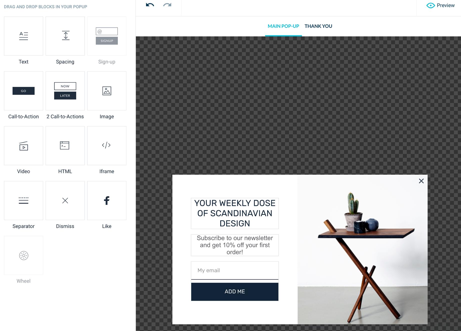WisePops exit-intent pop-up builder UI