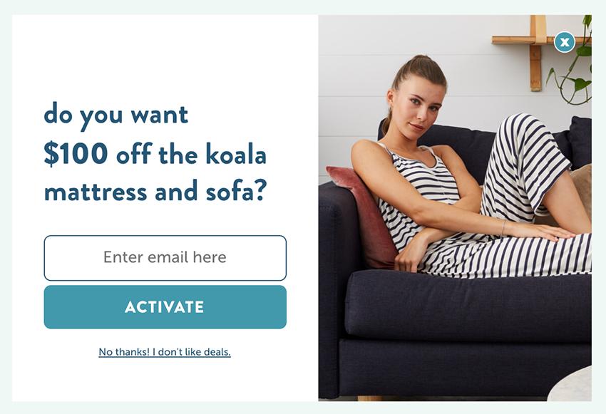 Koala mattress exit-intent pop-up $100 discount