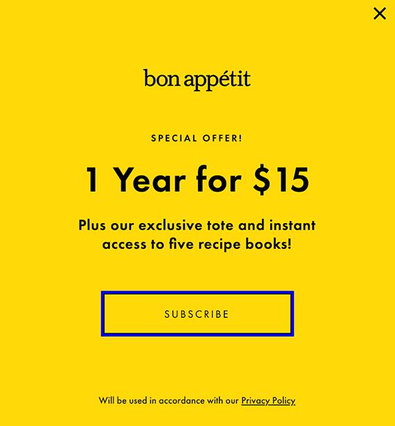 bon appetit exit-intent pop-up discount