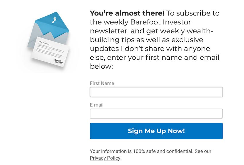 Barefoot Investor exit-intent pop-up newsletter sign-up form