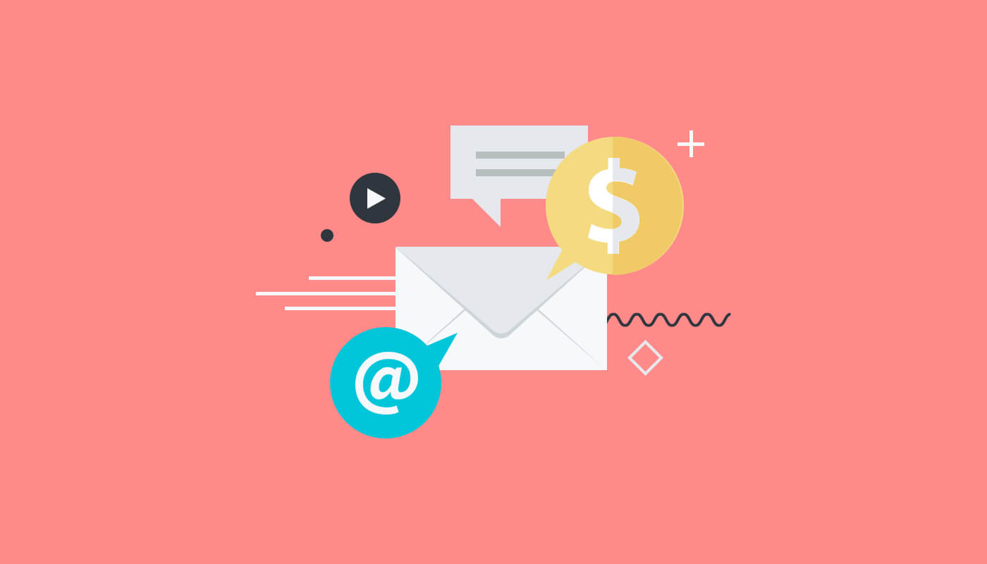 vector image of white envelope with dollar and @ symbol