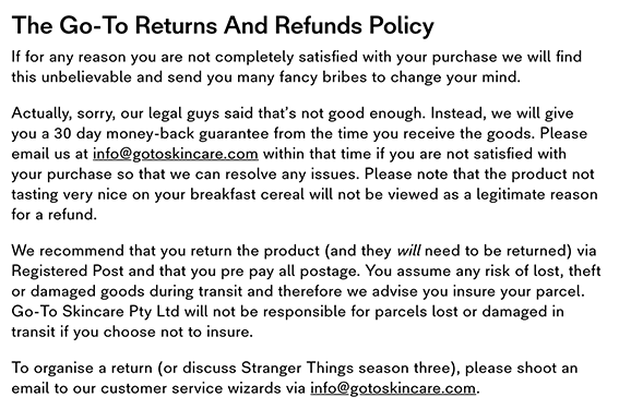 go-to skincare return policy