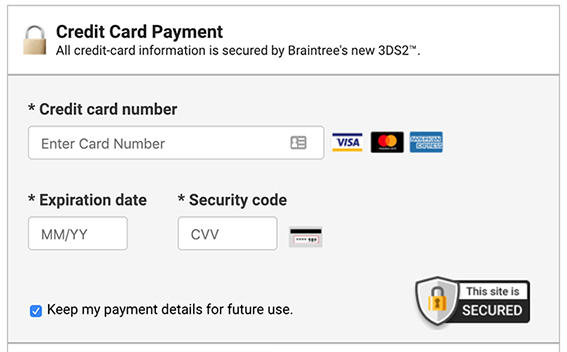 Credit card payment screen with